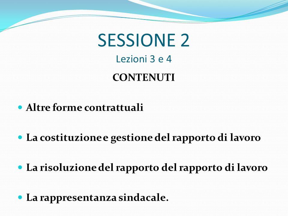 SESSIONE 2 Lezioni 3 e 4 CONTENUTI Altre forme contrattuali La costituzione e gestione del rapporto di lavoro La risoluzione del rapporto del rapporto di lavoro La rappresentanza sindacale.