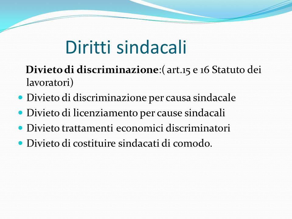 Diritti sindacali Divieto di discriminazione:( art.15 e 16 Statuto dei lavoratori) Divieto di discriminazione per causa sindacale Divieto di licenziamento per cause sindacali Divieto trattamenti economici discriminatori Divieto di costituire sindacati di comodo.