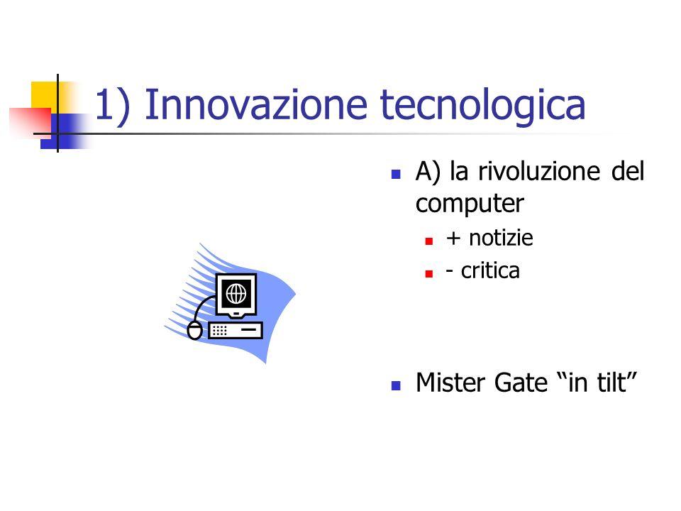 1) Innovazione tecnologica A) la rivoluzione del computer + notizie - critica Mister Gate in tilt