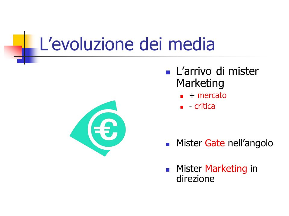 Levoluzione dei media Larrivo di mister Marketing + mercato - critica Mister Gate nellangolo Mister Marketing in direzione