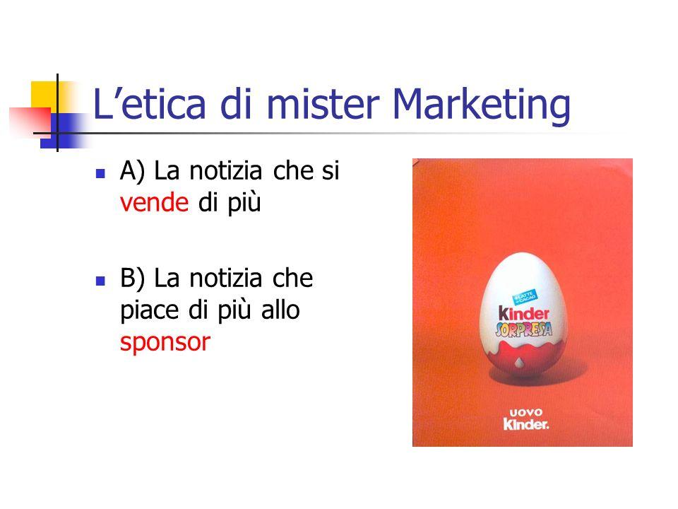 Letica di mister Marketing A) La notizia che si vende di più B) La notizia che piace di più allo sponsor