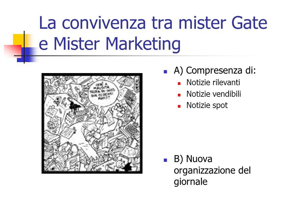 La convivenza tra mister Gate e Mister Marketing A) Compresenza di: Notizie rilevanti Notizie vendibili Notizie spot B) Nuova organizzazione del giornale