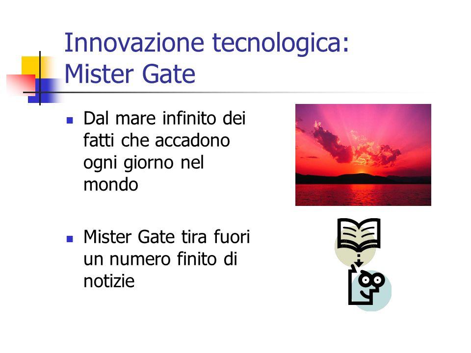Innovazione tecnologica: Mister Gate Dal mare infinito dei fatti che accadono ogni giorno nel mondo Mister Gate tira fuori un numero finito di notizie