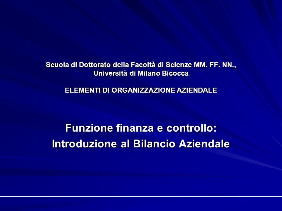 Scuola di Dottorato della Facoltà di Scienze MM. FF. NN., Università di Milano Bicocca ELEMENTI DI ORGANIZZAZIONE AZIENDALE Funzione finanza e control
