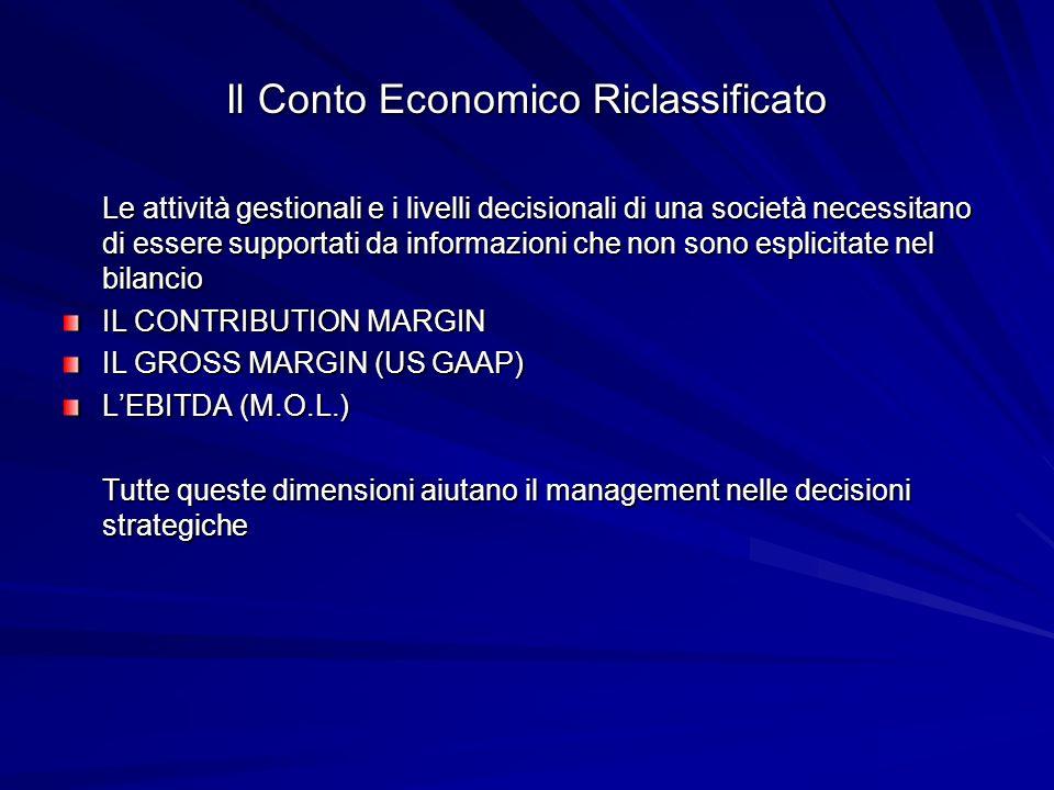 Il Conto Economico Riclassificato Le attività gestionali e i livelli decisionali di una società necessitano di essere supportati da informazioni che n