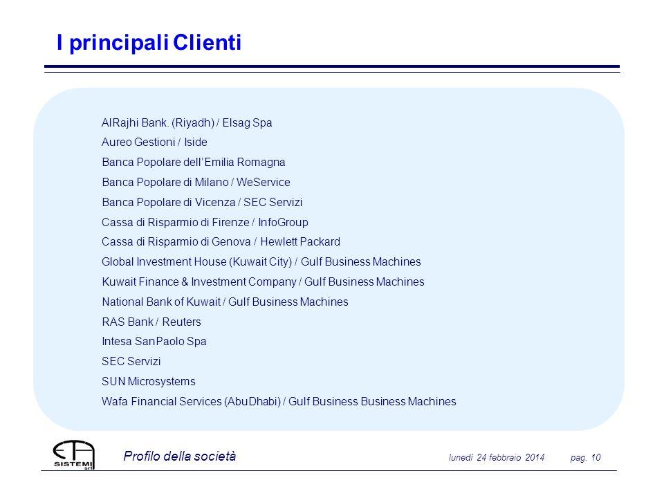 Profilo della società lunedì 24 febbraio 2014 pag. 10 I principali Clienti AlRajhi Bank. (Riyadh) / Elsag Spa Aureo Gestioni / Iside Banca Popolare de