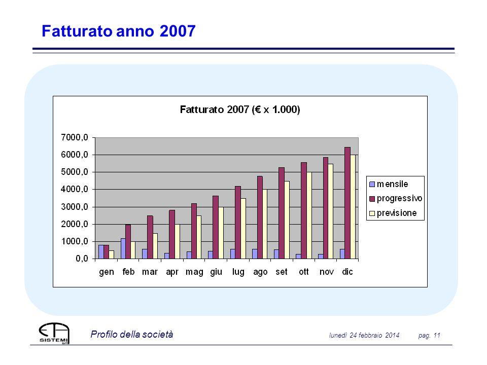 Profilo della società lunedì 24 febbraio 2014 pag. 11 Fatturato anno 2007