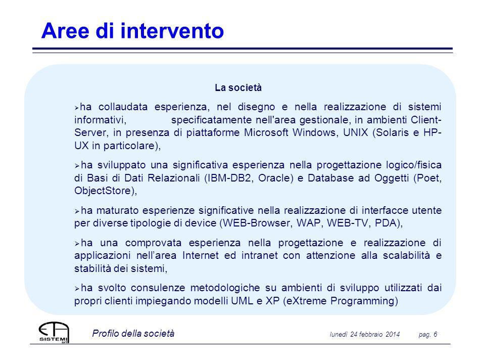 Profilo della società lunedì 24 febbraio 2014 pag. 6 Aree di intervento La società ha collaudata esperienza, nel disegno e nella realizzazione di sist