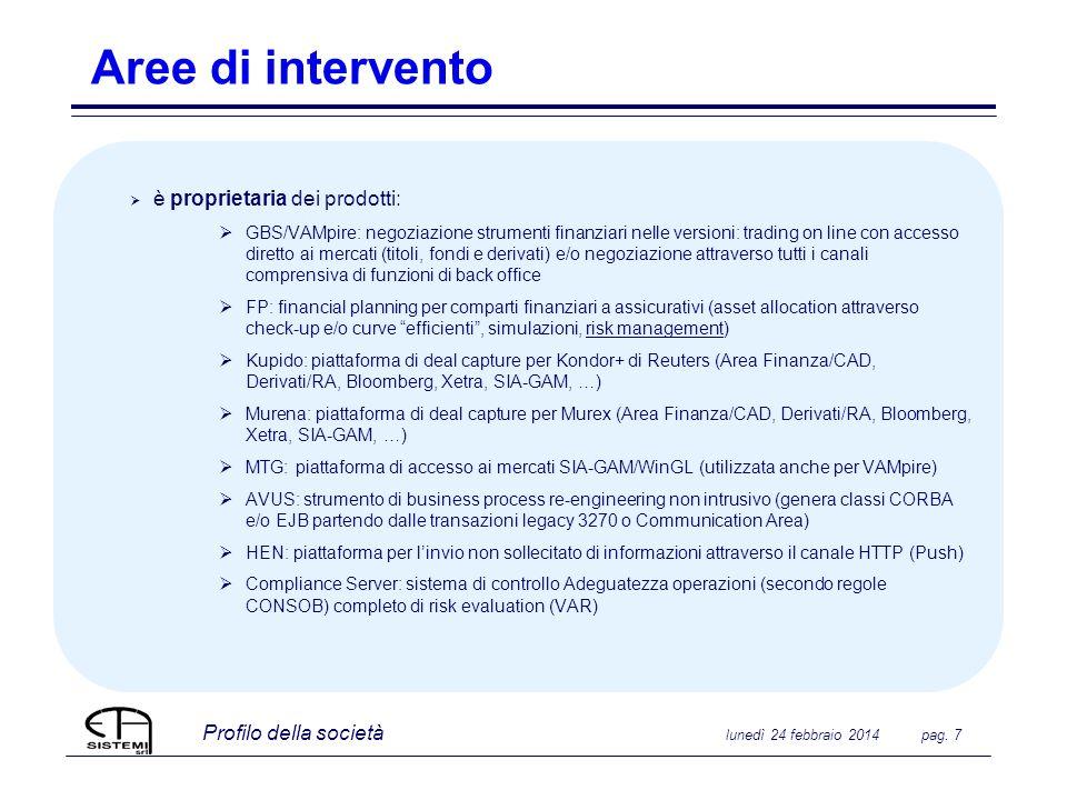 Profilo della società lunedì 24 febbraio 2014 pag. 7 Aree di intervento è proprietaria dei prodotti: GBS/VAMpire: negoziazione strumenti finanziari ne