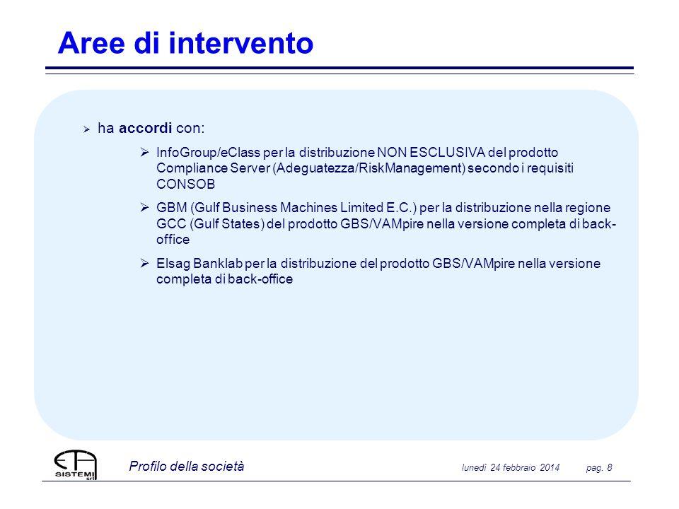 Profilo della società lunedì 24 febbraio 2014 pag. 8 Aree di intervento ha accordi con: InfoGroup/eClass per la distribuzione NON ESCLUSIVA del prodot