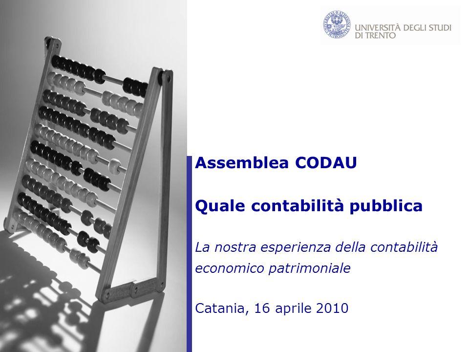 1 Assemblea CODAU Quale contabilità pubblica La nostra esperienza della contabilità economico patrimoniale Catania, 16 aprile 2010