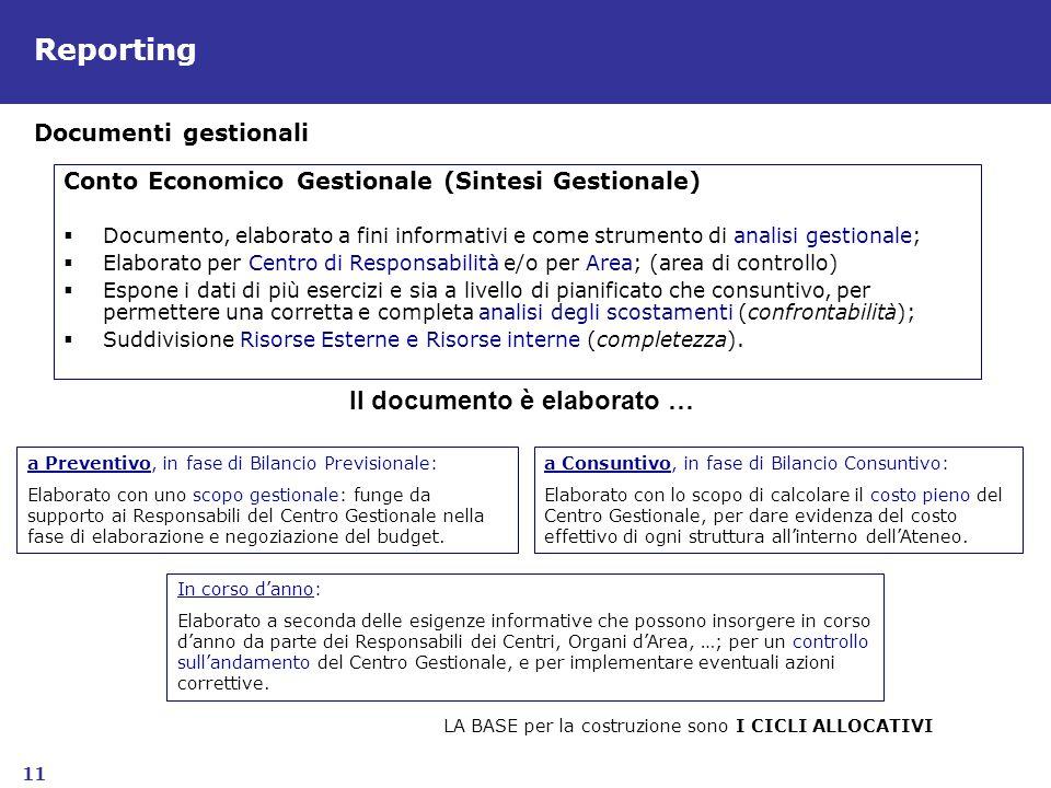 11 Reporting Conto Economico Gestionale (Sintesi Gestionale) Documento, elaborato a fini informativi e come strumento di analisi gestionale; Elaborato