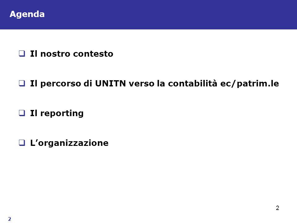 2 2 Il nostro contesto Il percorso di UNITN verso la contabilità ec/patrim.le Il reporting Lorganizzazione Agenda