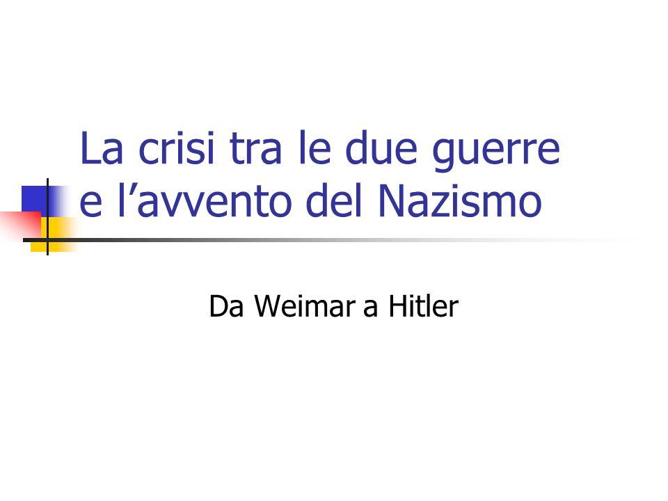 La crisi tra le due guerre e lavvento del Nazismo Da Weimar a Hitler