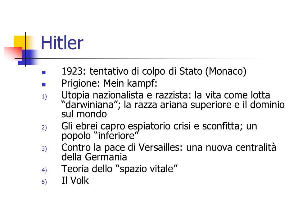Hitler 1923: tentativo di colpo di Stato (Monaco) Prigione: Mein kampf: 1) Utopia nazionalista e razzista: la vita come lotta darwiniana; la razza ari