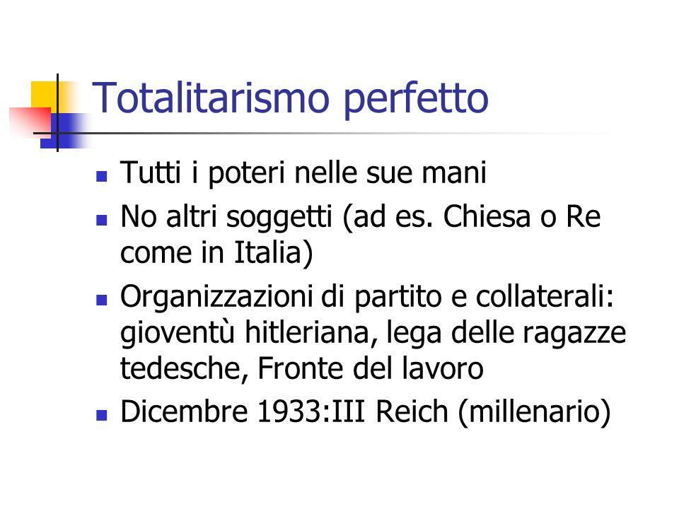 Totalitarismo perfetto Tutti i poteri nelle sue mani No altri soggetti (ad es. Chiesa o Re come in Italia) Organizzazioni di partito e collaterali: gi
