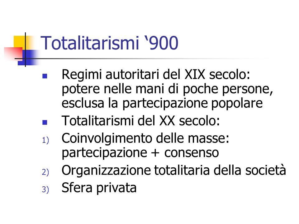 Totalitarismi 900 Regimi autoritari del XIX secolo: potere nelle mani di poche persone, esclusa la partecipazione popolare Totalitarismi del XX secolo