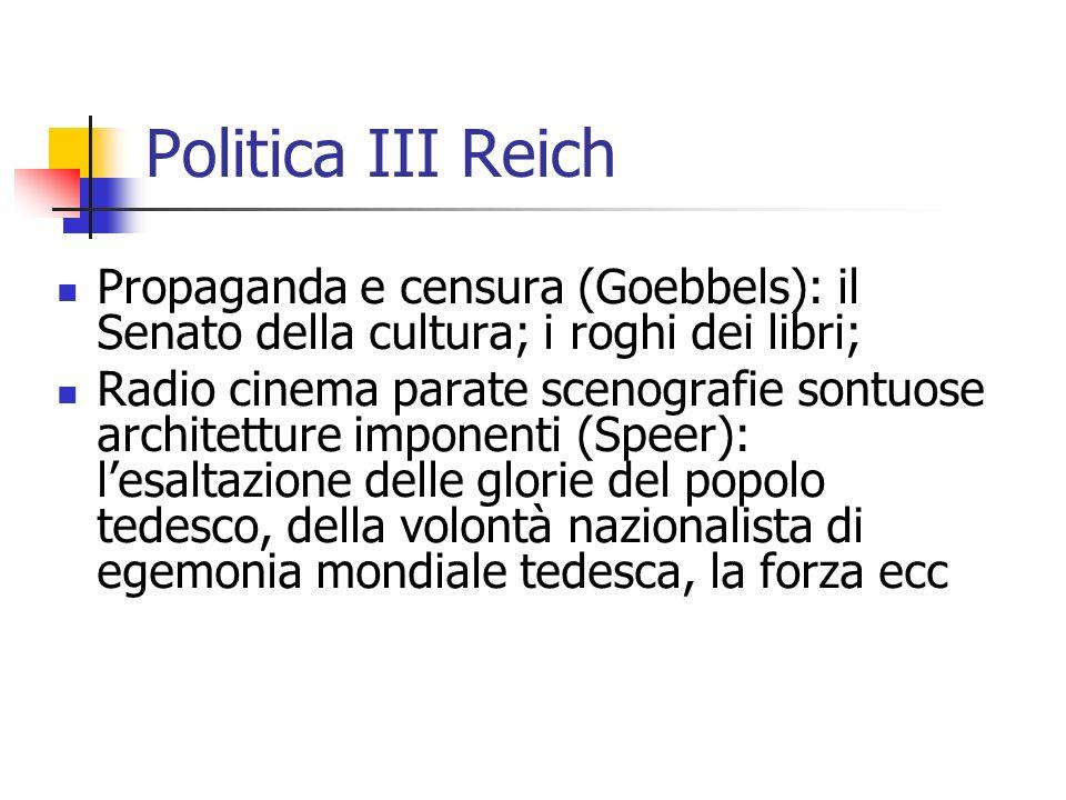Politica III Reich Propaganda e censura (Goebbels): il Senato della cultura; i roghi dei libri; Radio cinema parate scenografie sontuose architetture