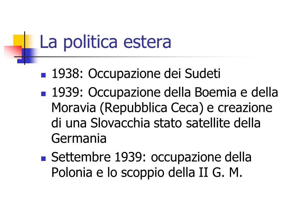 La politica estera 1938: Occupazione dei Sudeti 1939: Occupazione della Boemia e della Moravia (Repubblica Ceca) e creazione di una Slovacchia stato s