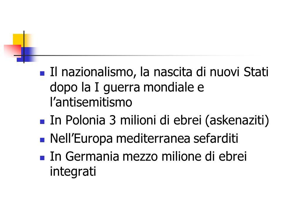 Il nazionalismo, la nascita di nuovi Stati dopo la I guerra mondiale e lantisemitismo In Polonia 3 milioni di ebrei (askenaziti) NellEuropa mediterran