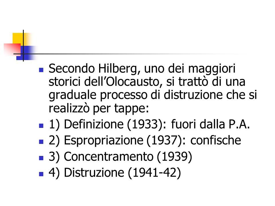 Secondo Hilberg, uno dei maggiori storici dellOlocausto, si trattò di una graduale processo di distruzione che si realizzò per tappe: 1) Definizione (