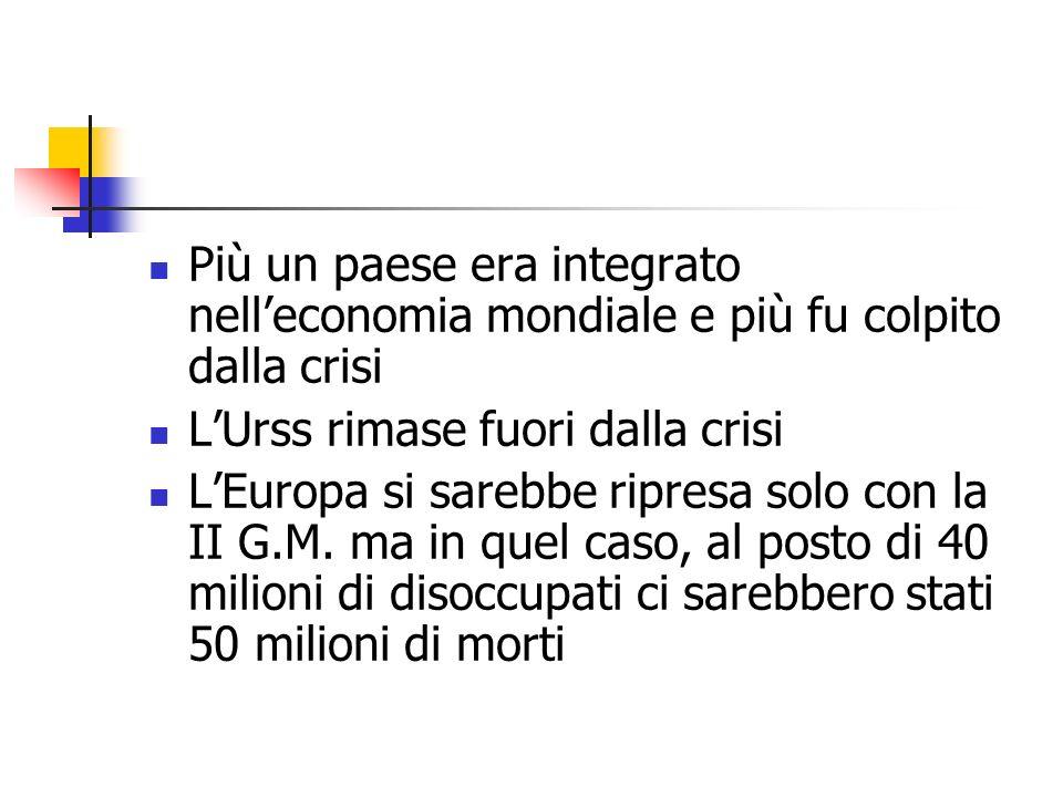 Più un paese era integrato nelleconomia mondiale e più fu colpito dalla crisi LUrss rimase fuori dalla crisi LEuropa si sarebbe ripresa solo con la II