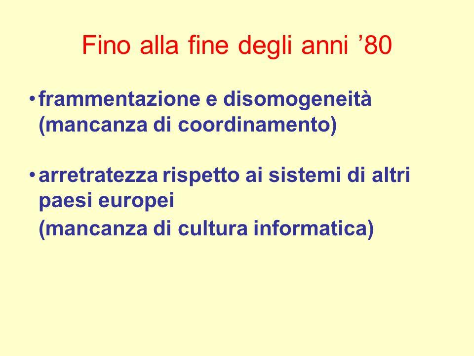 Fino alla fine degli anni 80 frammentazione e disomogeneità (mancanza di coordinamento) arretratezza rispetto ai sistemi di altri paesi europei (mancanza di cultura informatica)