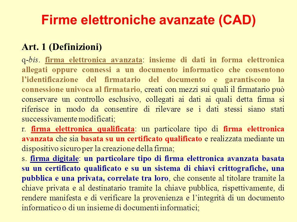 Firme elettroniche avanzate (CAD) Art. 1 (Definizioni) q-bis.