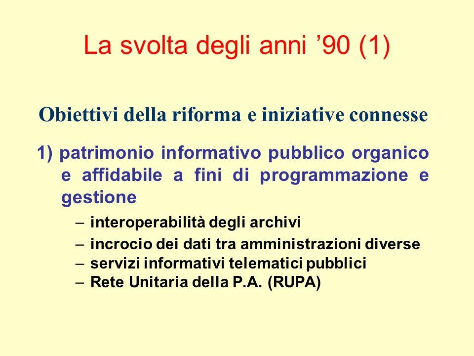 La svolta degli anni 90 (2) 2) rafforzare lassetto istituzionale della P.A.