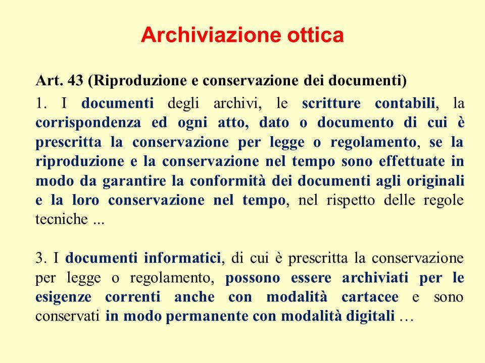 Archiviazione ottica Art. 43 (Riproduzione e conservazione dei documenti) 1.