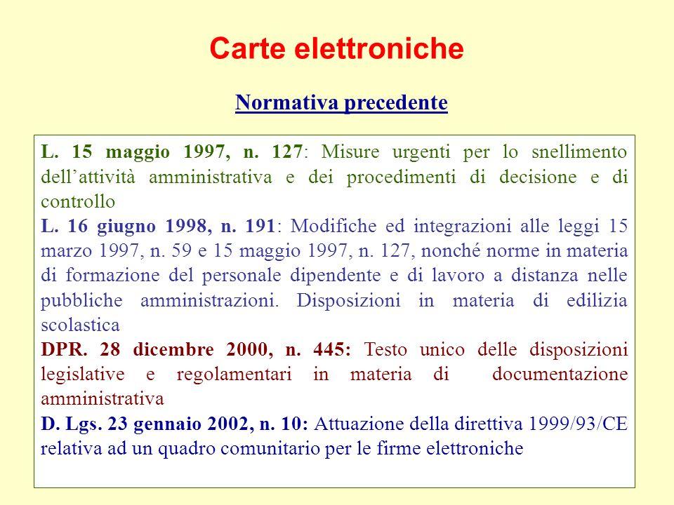 Carte elettroniche Normativa precedente L. 15 maggio 1997, n.