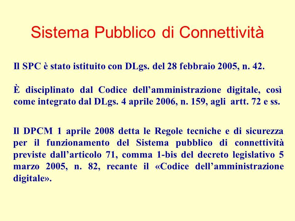 Il DPCM 1 aprile 2008 detta le Regole tecniche e di sicurezza per il funzionamento del Sistema pubblico di connettività previste dallarticolo 71, comma 1-bis del decreto legislativo 5 marzo 2005, n.