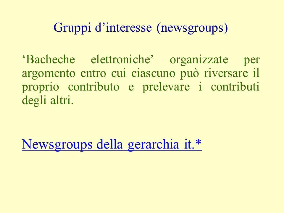 Gruppi dinteresse (newsgroups) Bacheche elettroniche organizzate per argomento entro cui ciascuno può riversare il proprio contributo e prelevare i contributi degli altri.
