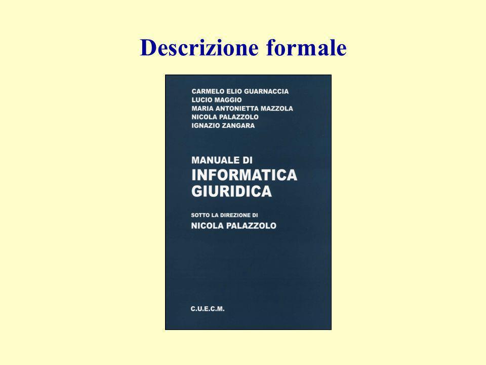 Descrizione formale Manuale di Informatica giuridica N. Palazzolo (dir.)
