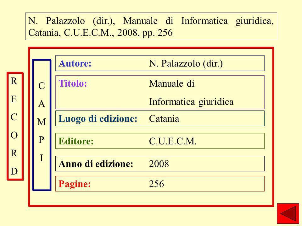 N. Palazzolo (dir.), Manuale di Informatica giuridica, Catania, C.U.E.C.M., 2008, pp.