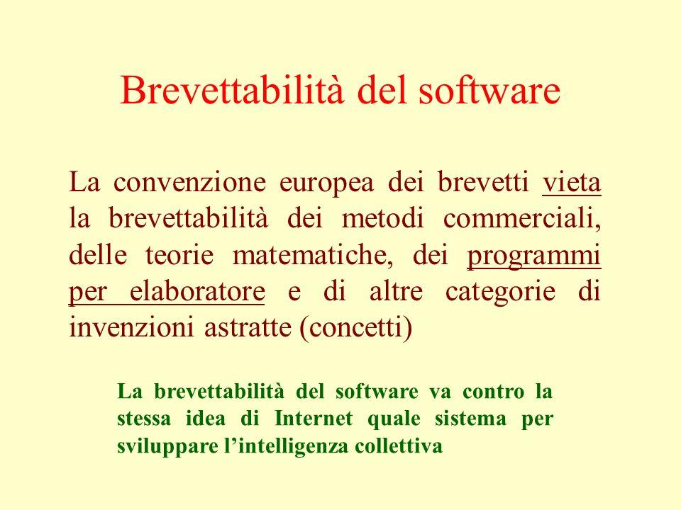 Brevettabilità del software La convenzione europea dei brevetti vieta la brevettabilità dei metodi commerciali, delle teorie matematiche, dei programm