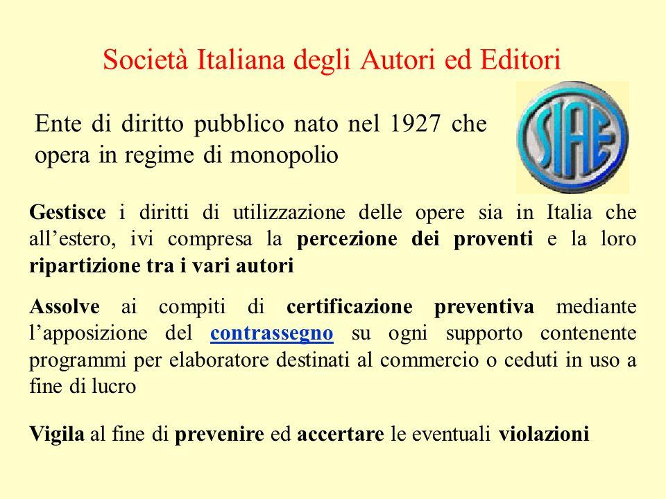 Società Italiana degli Autori ed Editori Ente di diritto pubblico nato nel 1927 che opera in regime di monopolio Gestisce i diritti di utilizzazione d
