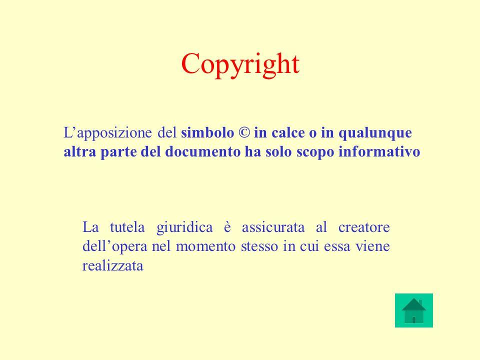 Copyright Lapposizione del simbolo © in calce o in qualunque altra parte del documento ha solo scopo informativo La tutela giuridica è assicurata al creatore dellopera nel momento stesso in cui essa viene realizzata