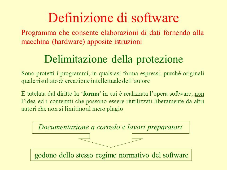 Definizione di software Documentazione a corredo e lavori preparatori Programma che consente elaborazioni di dati fornendo alla macchina (hardware) ap