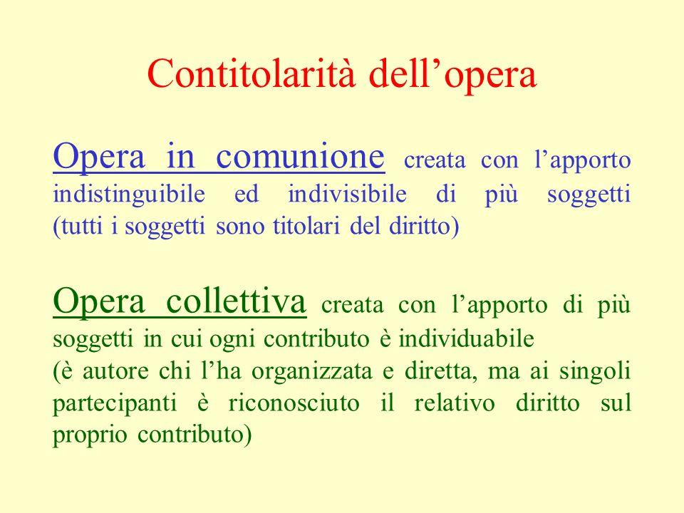 Opera in comunione creata con lapporto indistinguibile ed indivisibile di più soggetti (tutti i soggetti sono titolari del diritto) Opera collettiva c