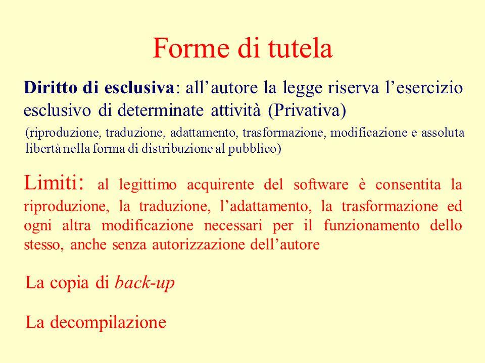Forme di tutela Diritto di esclusiva: allautore la legge riserva lesercizio esclusivo di determinate attività (Privativa) (riproduzione, traduzione, a