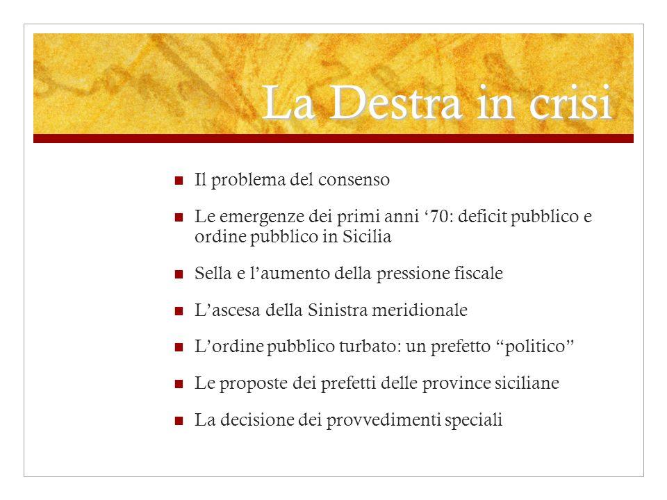 La Destra in crisi Il problema del consenso Le emergenze dei primi anni 70: deficit pubblico e ordine pubblico in Sicilia Sella e laumento della press