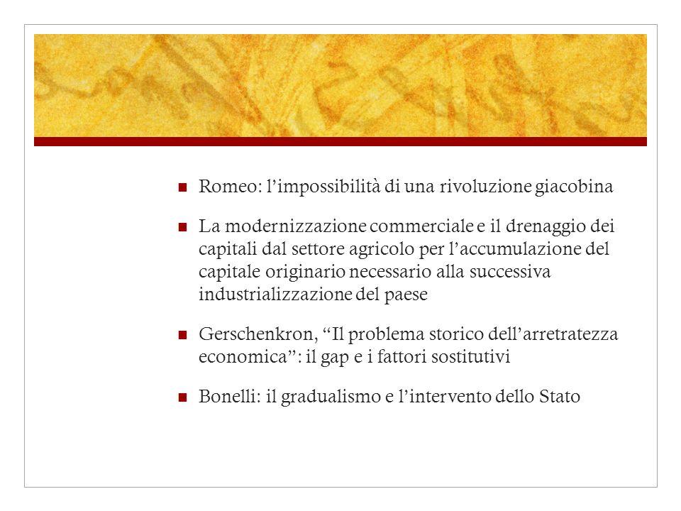 Romeo: limpossibilità di una rivoluzione giacobina La modernizzazione commerciale e il drenaggio dei capitali dal settore agricolo per laccumulazione