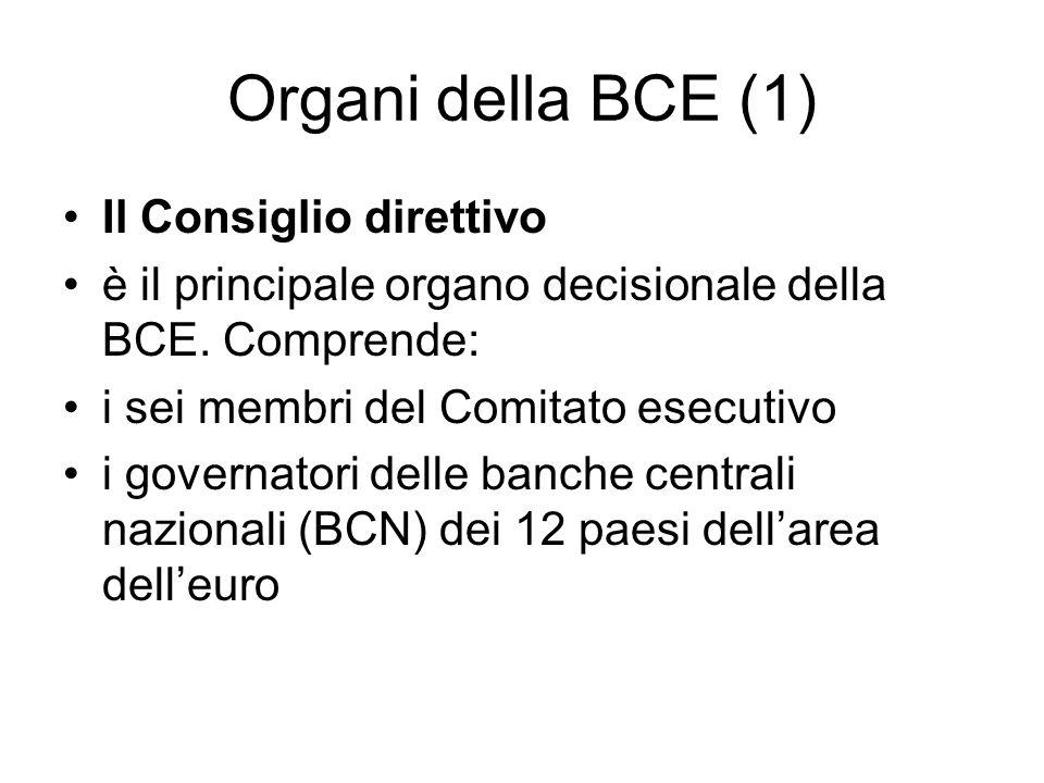 Organi della BCE (1) Il Consiglio direttivo è il principale organo decisionale della BCE.