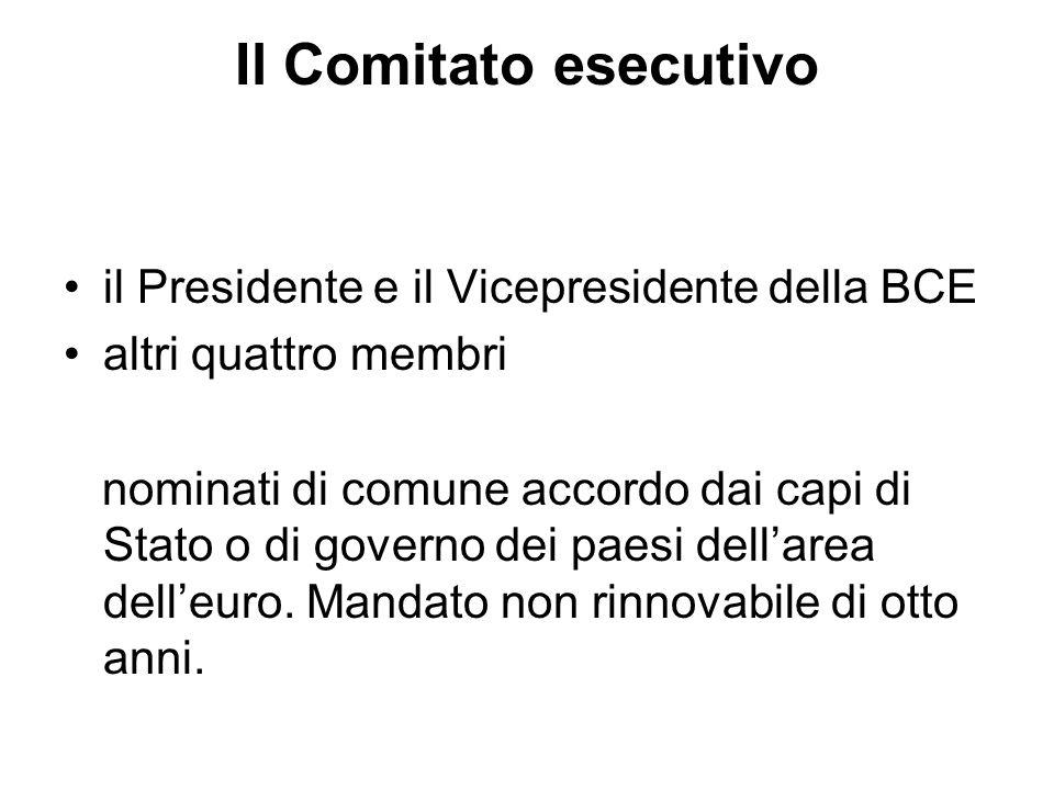 Il Comitato esecutivo il Presidente e il Vicepresidente della BCE altri quattro membri nominati di comune accordo dai capi di Stato o di governo dei paesi dellarea delleuro.