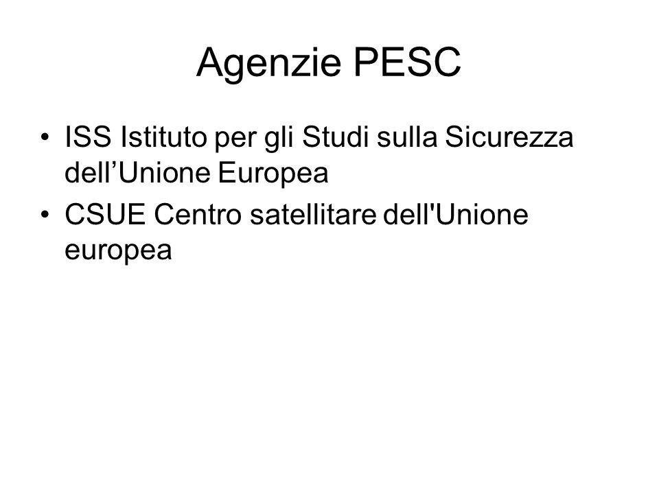 Agenzie PESC ISS Istituto per gli Studi sulla Sicurezza dellUnione Europea CSUE Centro satellitare dell Unione europea
