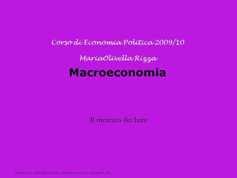 5 | 1Goodwin et al., MICROECONOMIA, Zanichelli editore S.p.A. Copyright © 2008 Macroeconomia Il mercato dei beni Corso di Economia Politica 2009/10 Ma