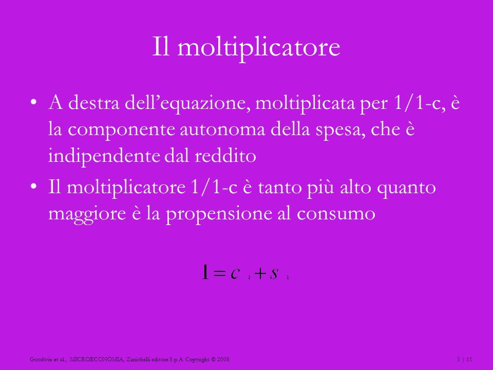 5 | 11Goodwin et al., MICROECONOMIA, Zanichelli editore S.p.A. Copyright © 2008 Il moltiplicatore A destra dellequazione, moltiplicata per 1/1-c, è la