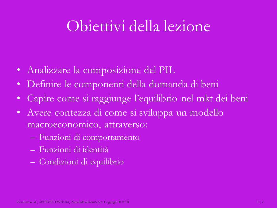 5 | 2Goodwin et al., MICROECONOMIA, Zanichelli editore S.p.A. Copyright © 2008 Obiettivi della lezione Analizzare la composizione del PIL Definire le