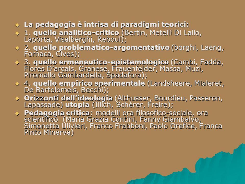La pedagogia è intrisa di paradigmi teorici: La pedagogia è intrisa di paradigmi teorici: 1. quello analitico-critico (Bertin, Metelli Di Lallo, Lapor